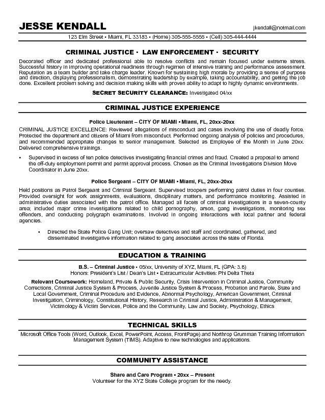 Objective Resume Criminal Justice #895 Topresume Info