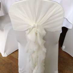 Chair Covers Wedding Buy Round Back Dining Ivory Cover With Ruffle Hood Seat And