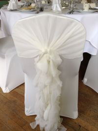 Ivory chair cover with ivory ruffle hood | seat covers and ...