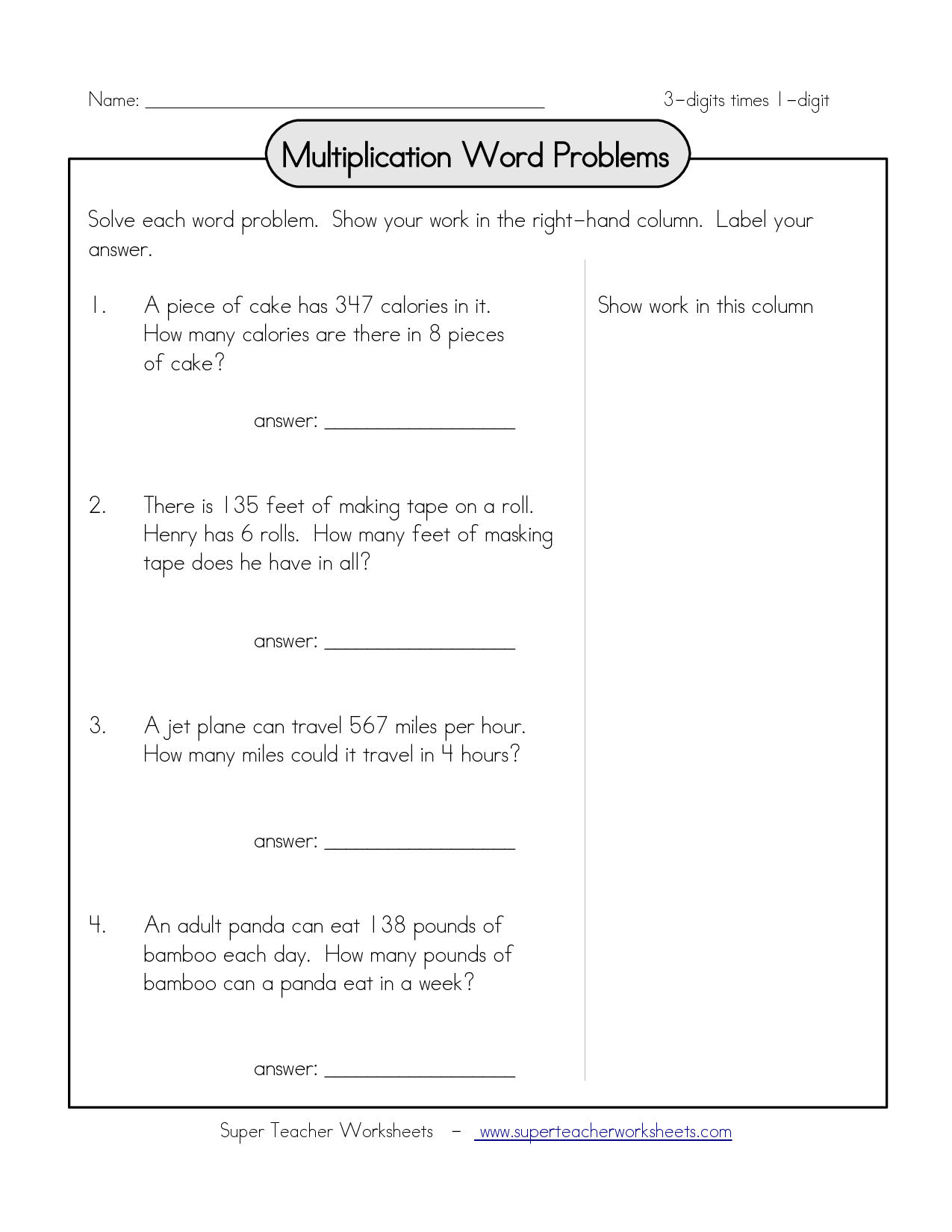 Multiplying By Multiples Of 10 Word Problems Worksheet