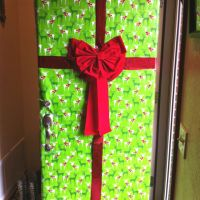 Wrapped my front door to look like a Christmas present ...