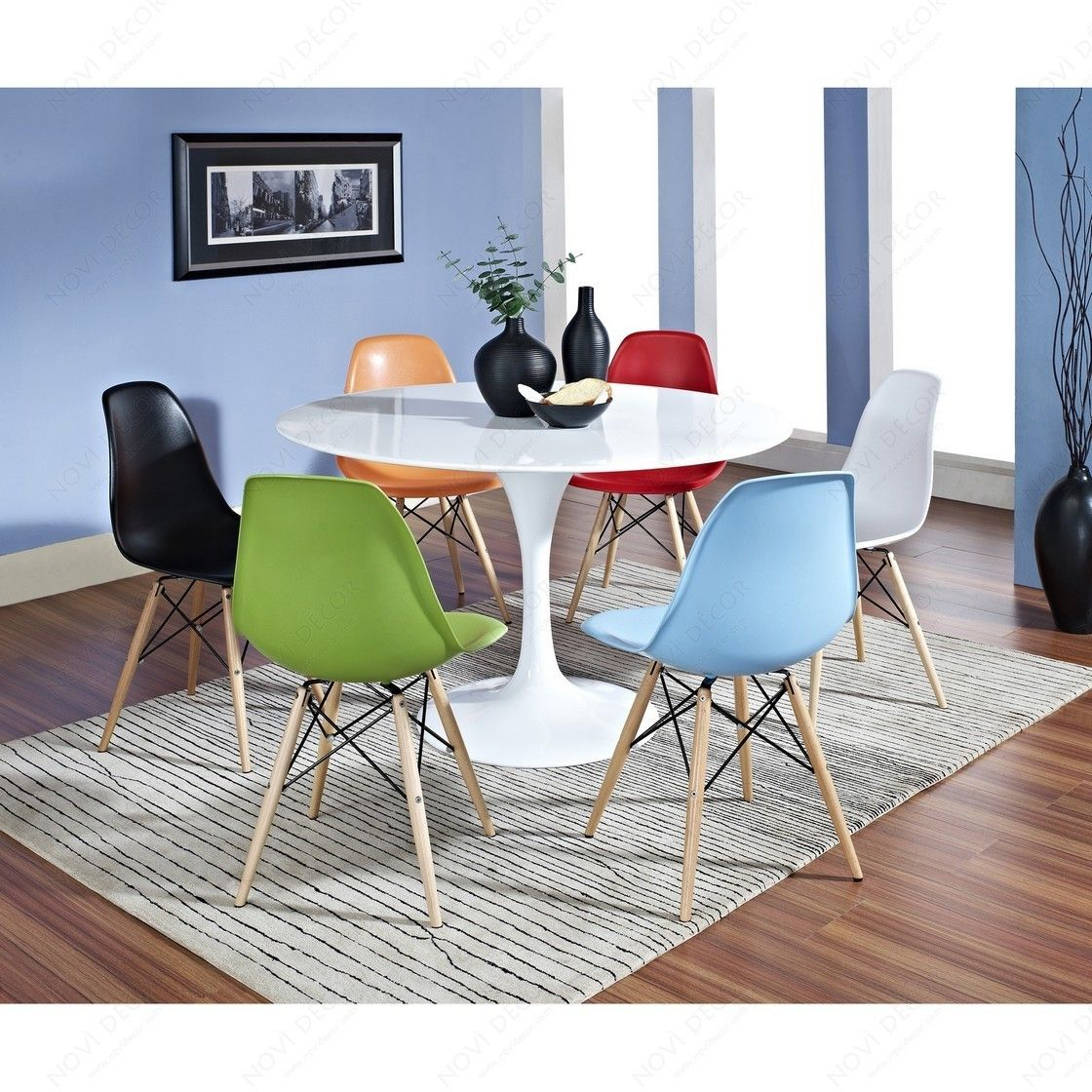 tulip dining room chairs aeron chair white eero saarinen 48 quot table and charles ray eames