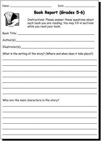 Book Report 5 & 6 - Writing Practice Worksheet for 5th and ...