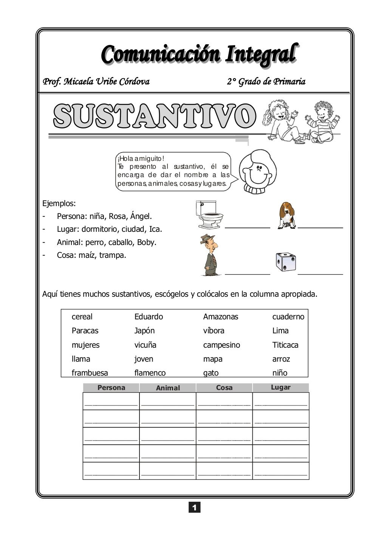 Sustantivo1 By Micaela Uribe Cordova Via Slideshare