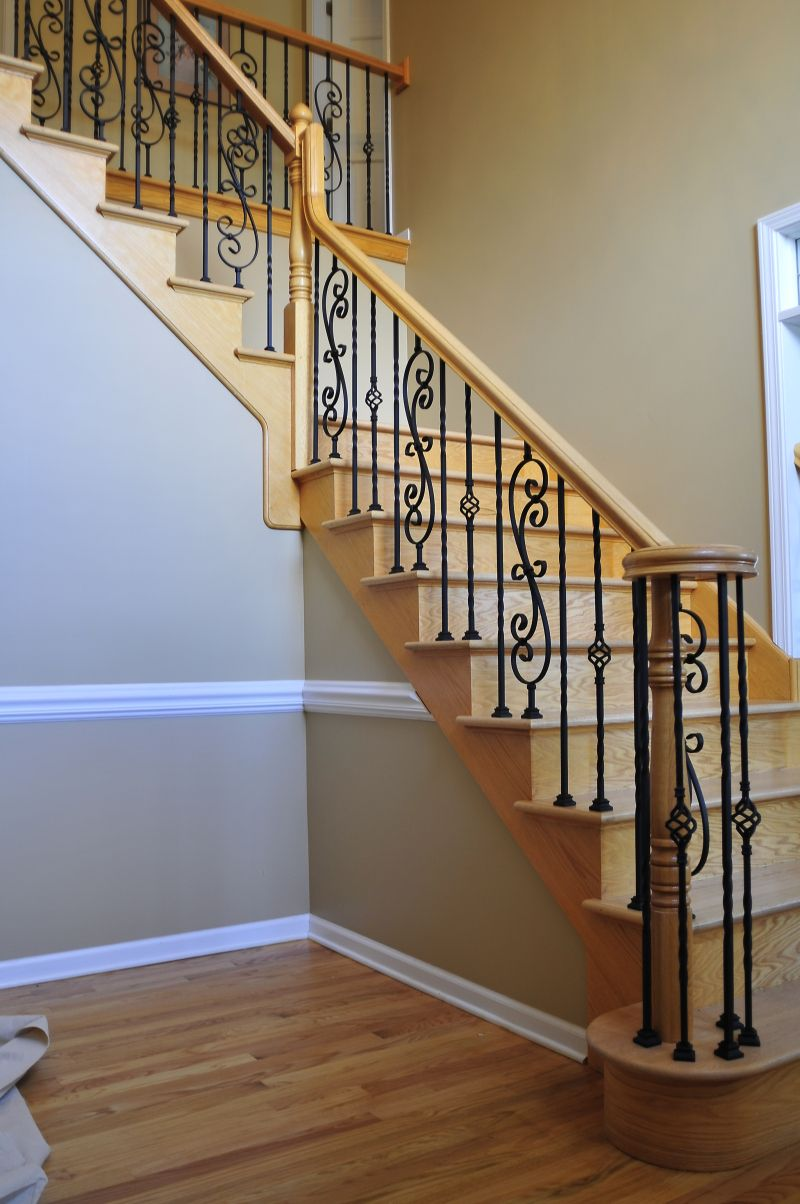 wood and rod iron staircase