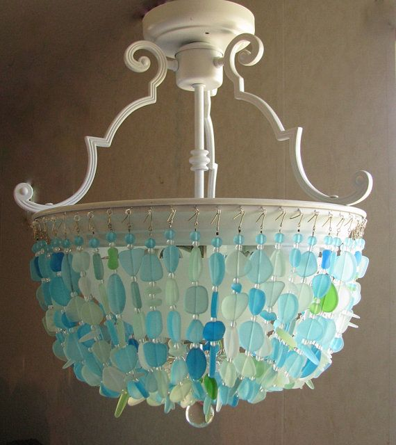 Sea Glass Chandelier Lighting Fixture Beach Glass Ceiling