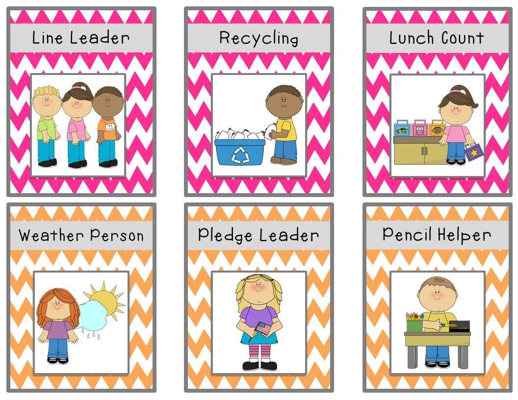 Bright Chevron Job Chart Cards Freebie Preschool