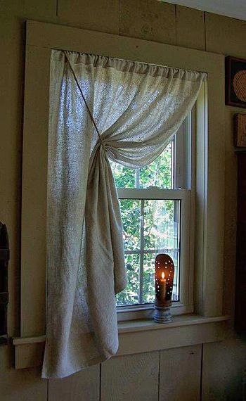 Prim Love The Curtains & The Tin Candle Holder On The Sill I
