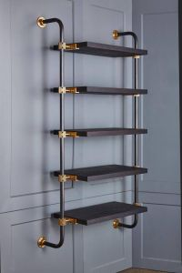 Wall-Mounted Adjustable Loft Shelves with Brass Fittings ...