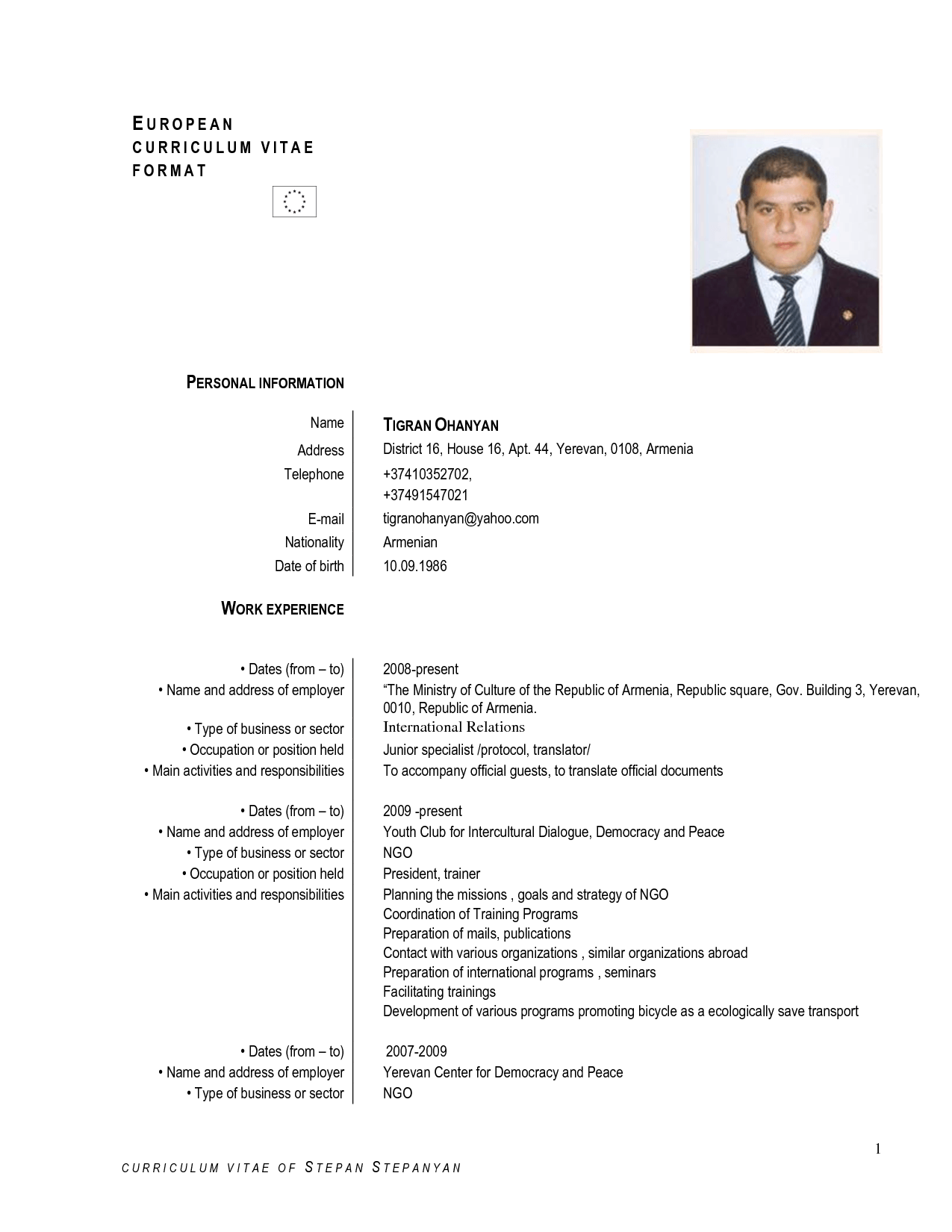 Cv Form Doc English | Sample Customer Service Resume
