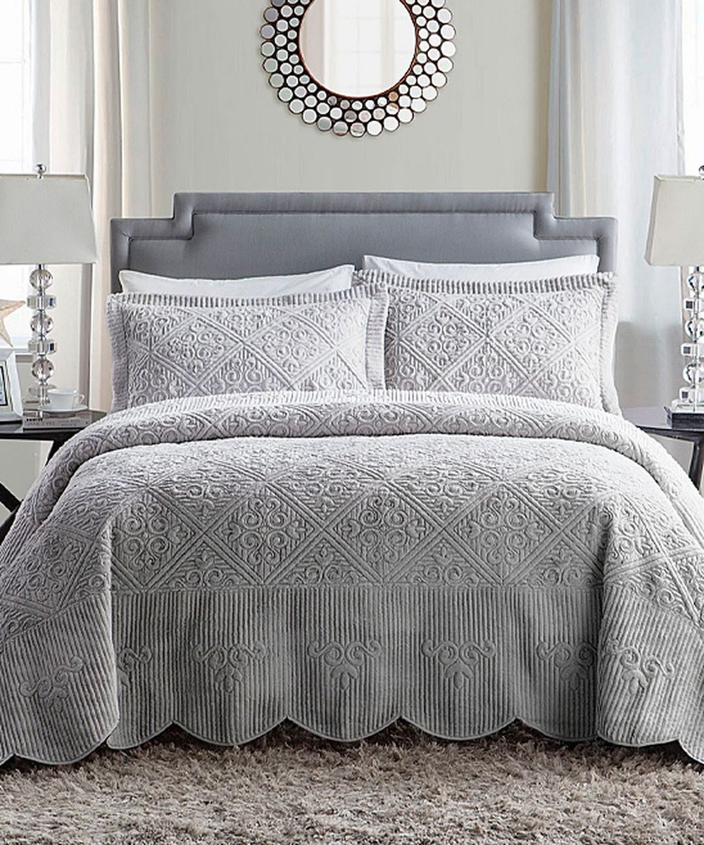 Look at this Gray Westland Quilted Bedspread Set on