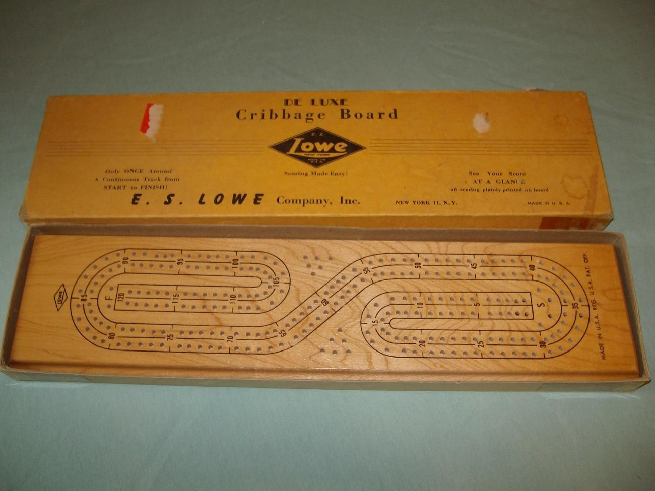 Vintage Wood Deluxe Cribbage Board Es Lowe Co