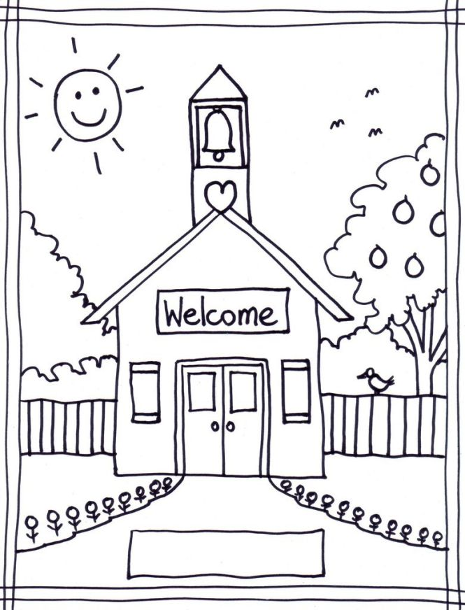 Coloring Pages Of School House Wallpaper