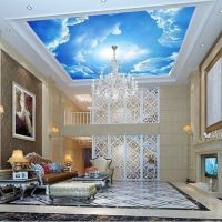 photo wallpaper Large clouds 3d interior ceiling in the ...