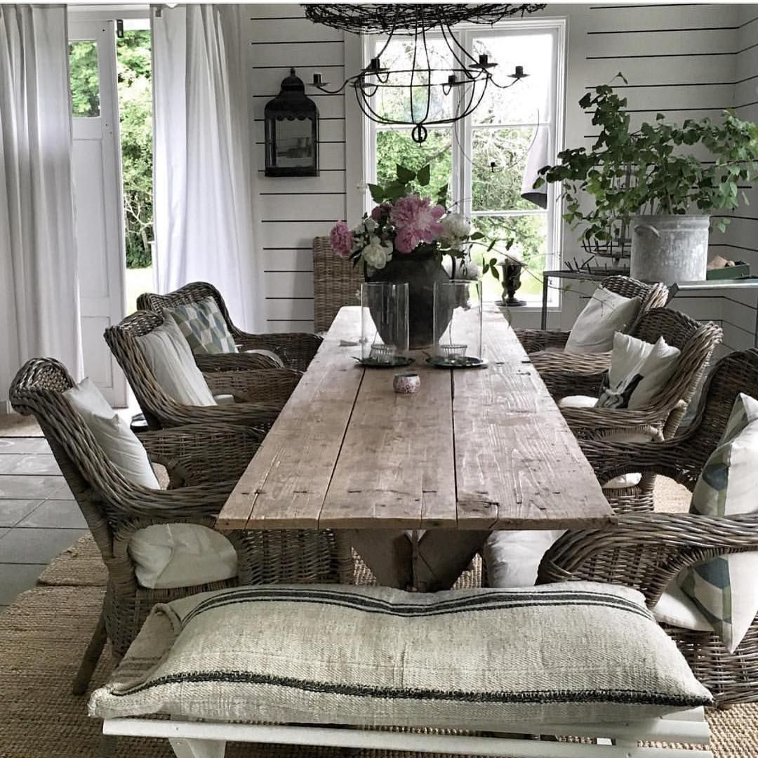 french country farm table and chairs suzanne kasler quatrefoil chair dining room with farmhouse wicker