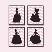 Princess Silhouette Quad - Girl's room decor - Girl's Wall ...