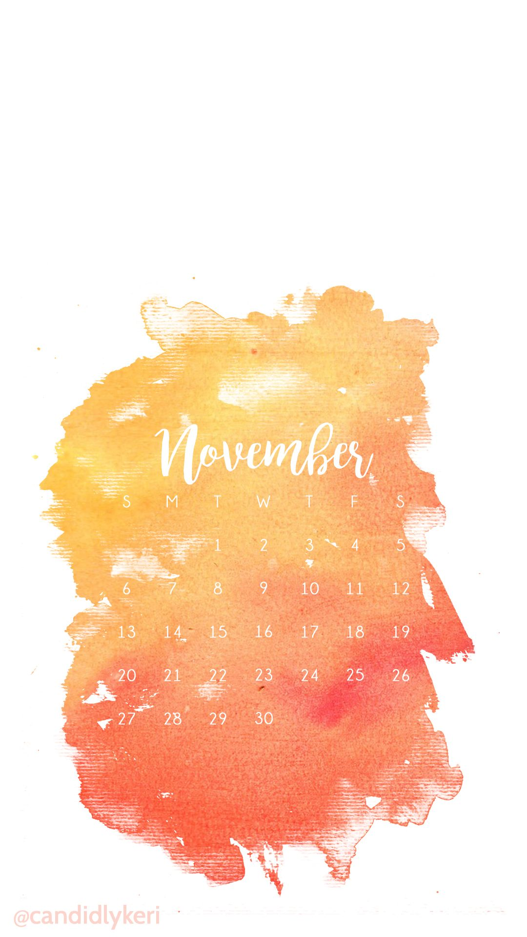 Free Fall Cell Phone Wallpapers Orange Red Yellow Fall Colors Watercolor November Calendar
