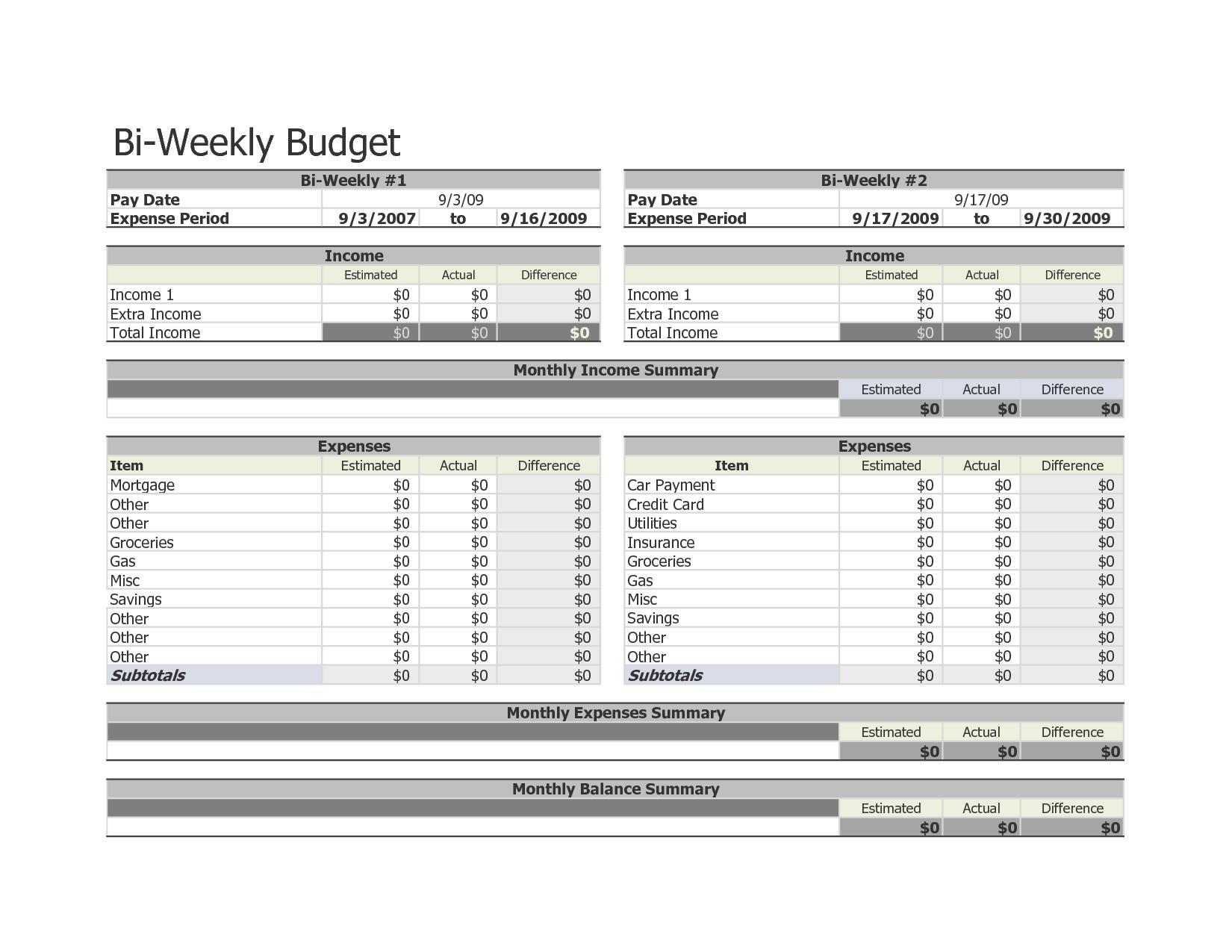 Bi Weekly Budget W Ksheet Google Se Rch Fo Pr T Bles