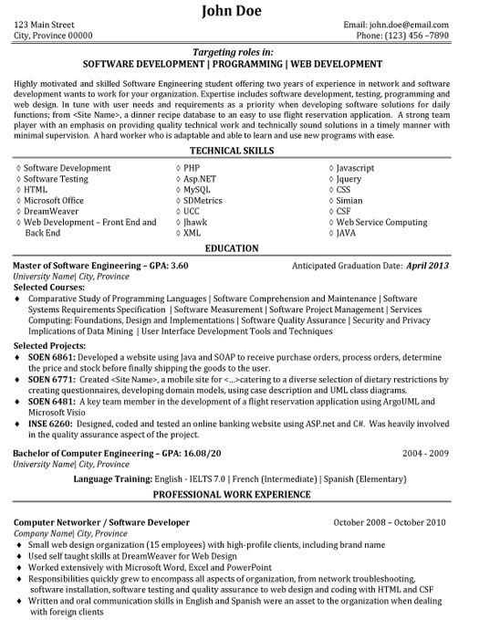 Good Software Developer Resume - Resume Sample