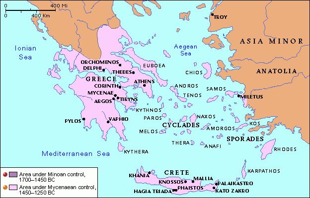 Map Mycenaean Civilization Ancient Greece