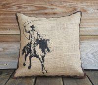 Burlap Pillow of Cowboy, Cushion, Throw Pillow, Western
