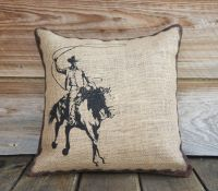 Burlap Pillow of Cowboy, Cushion, Throw Pillow, Western ...