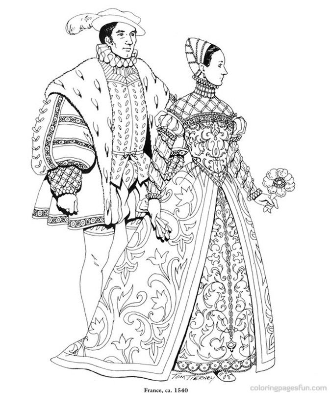 Renaissance Costumes and Clothing Coloring Pages 32