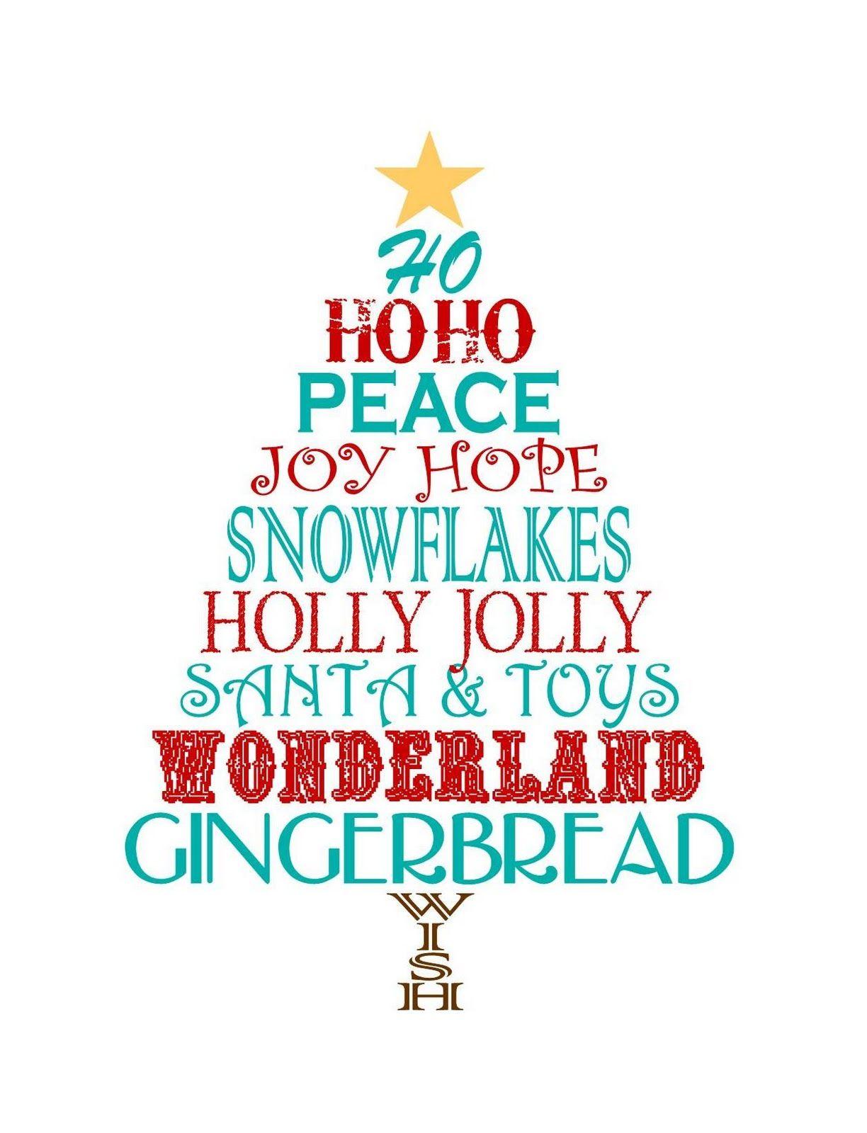 Just Devine Style Free Christmas Word Tree Printable