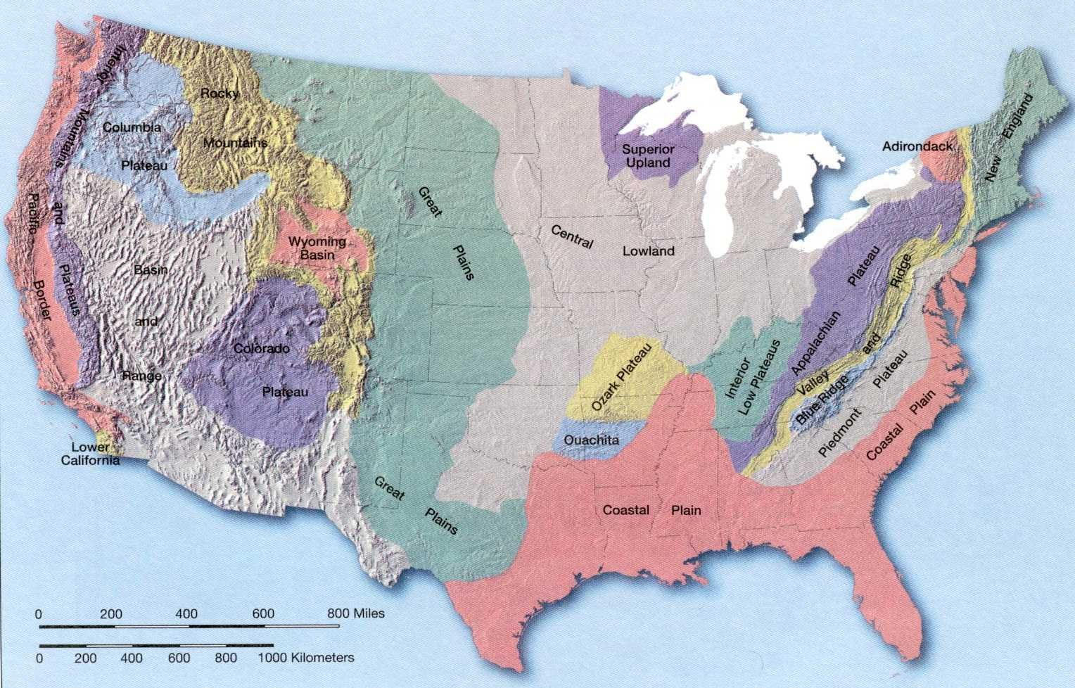 Blank Landform Map Of United States For Kids Applied Coastal Oceanography