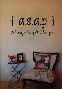 ASAP Always Say A Prayer - Wall Decals - Wall Vinyl - Wall ...