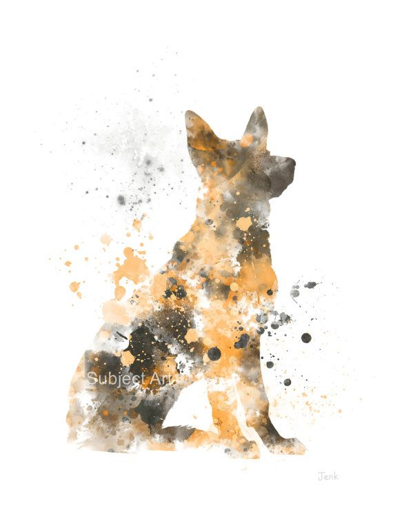 German Shepherd Dog ART PRINT Illustration Home Decor Wall Art