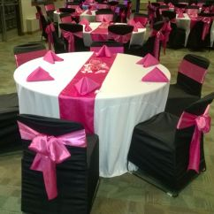 Chair Sash Alternatives Covers Rental Orlando Black With Hot Pink Satin Sashes Traditional