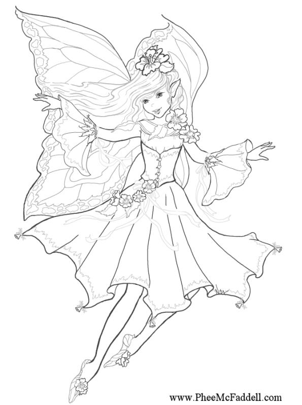 Malvorlage fee coloring fairy elfen feen Pinterest