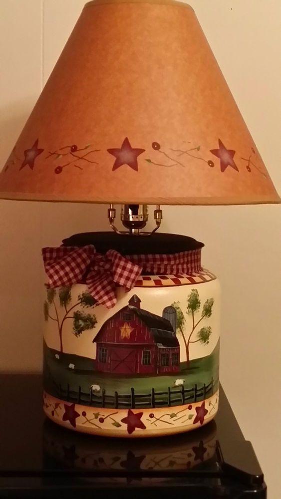 Primitive Country Barn Sheep Hillside Table Lamp #