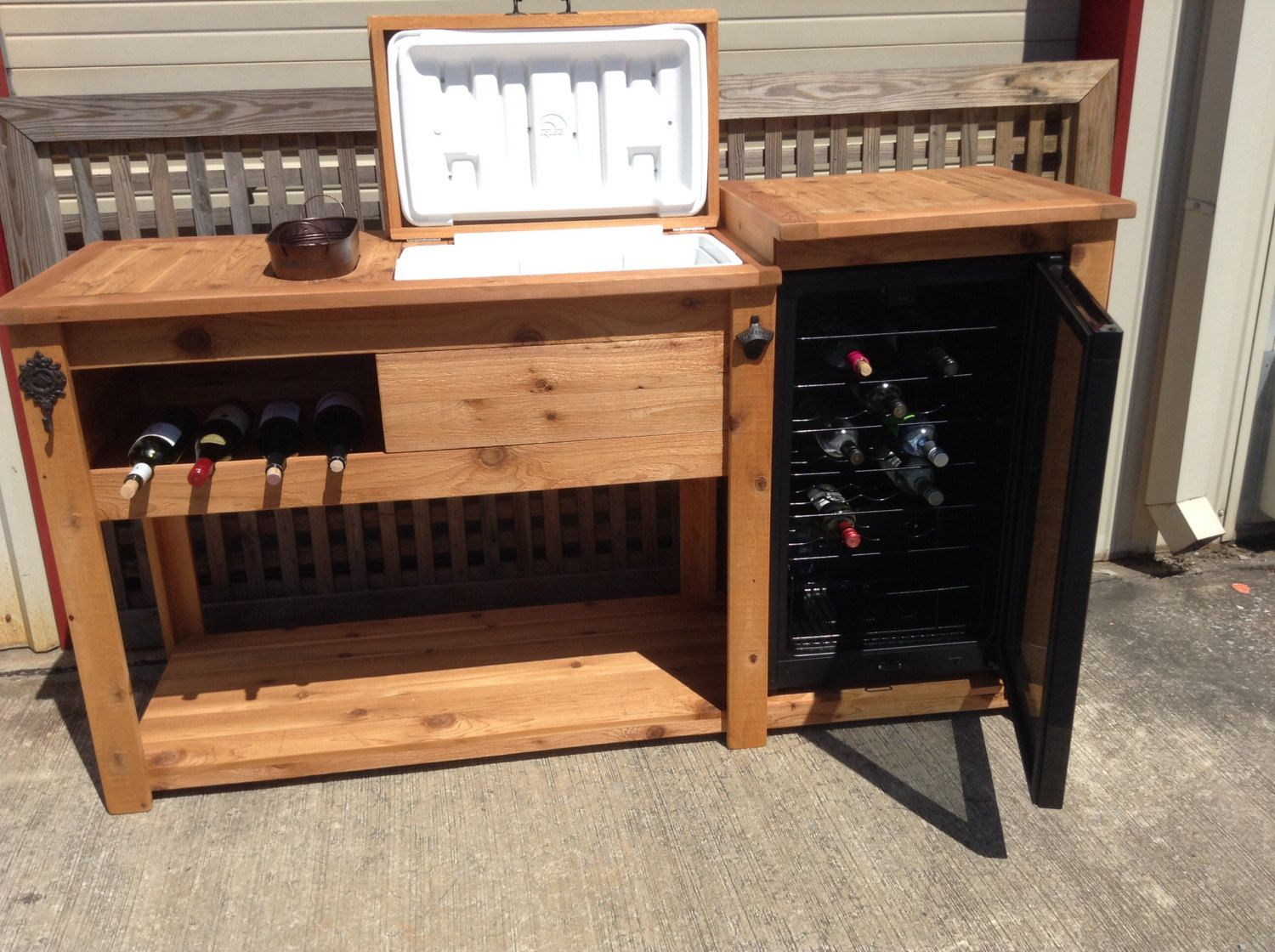 outdoor kitchen storage cart free standing pantry cabinet rustic wooden cooler table bar wine with mini
