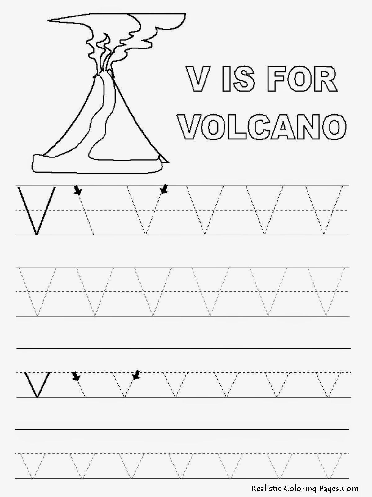 Alphabet Tracer Pages V Volcano Image