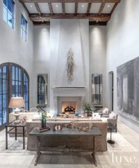 Mediterranean Gray Living Room with Floor-to-Ceiling ...