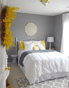 Guest bedroom gray white and yellow also best images about new room on pinterest gold floating rh