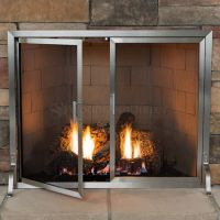 Lumino Stainless Steel Fireplace Screen with Doors ...
