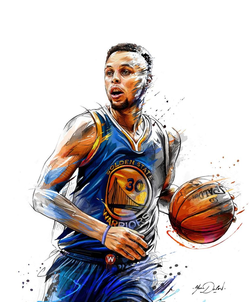 stephen curry living color painting  art  pinterest