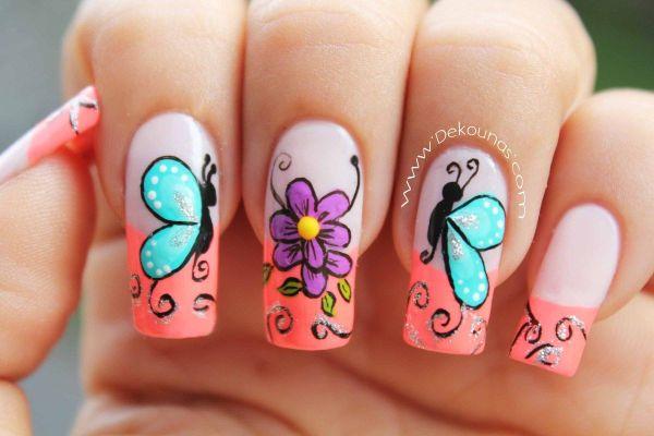 Decoracion De Unas Con Mariposas
