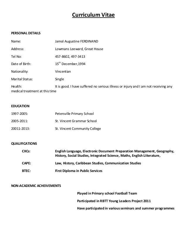 Simple Curriculum Vitae Format Simple Curriculum Vitae Format