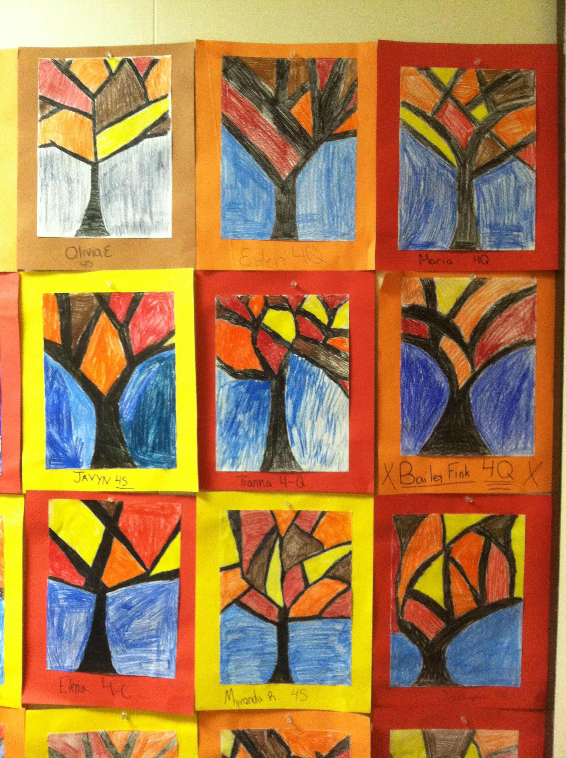 Abstract Trees Fourth Grade Art