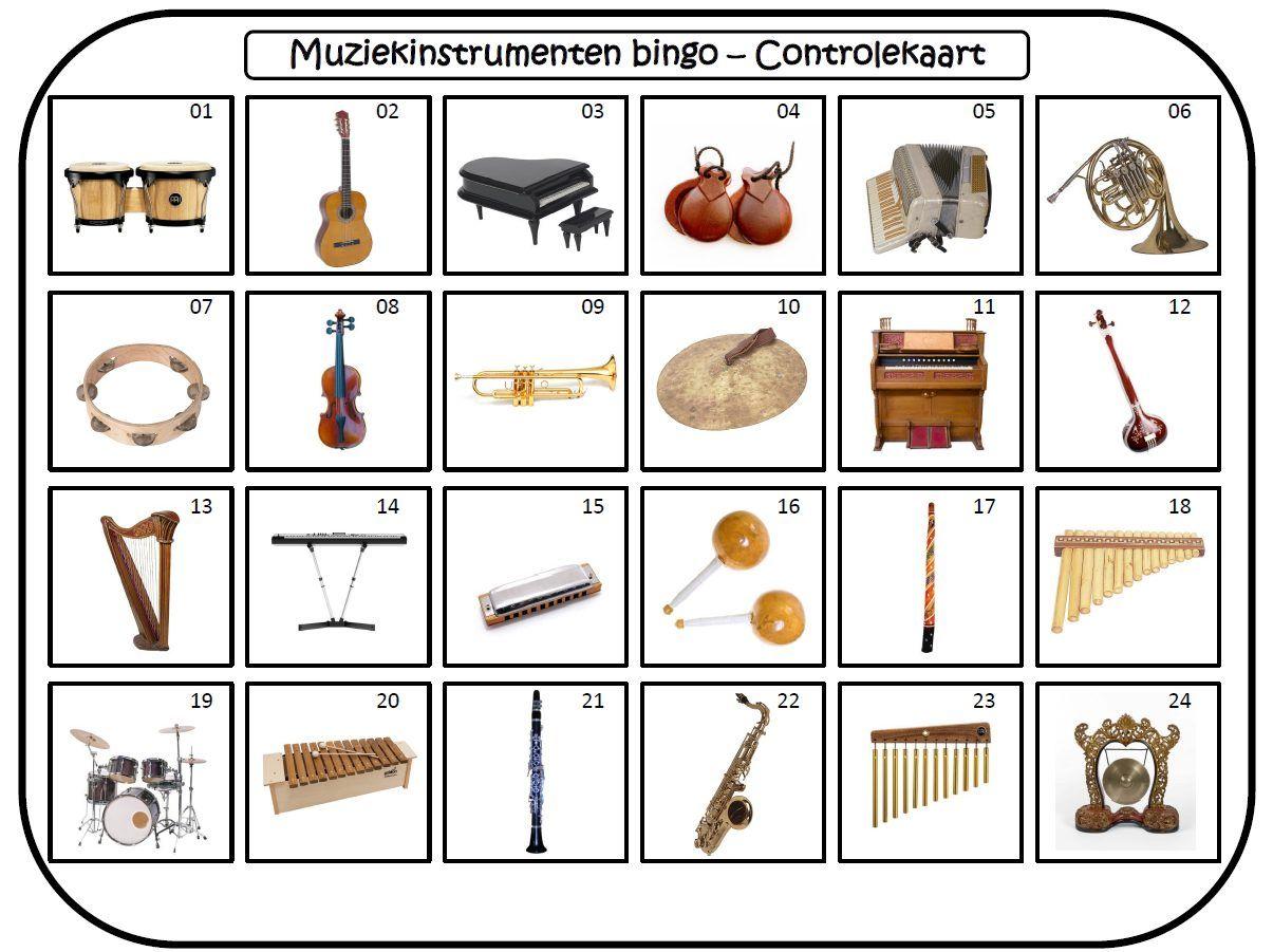 Muziekinstrumentenbingo Groot Formaat