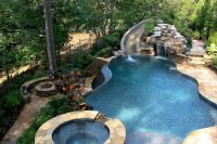 pool with slide waterfall grotto cave | Cave, Swimming ...