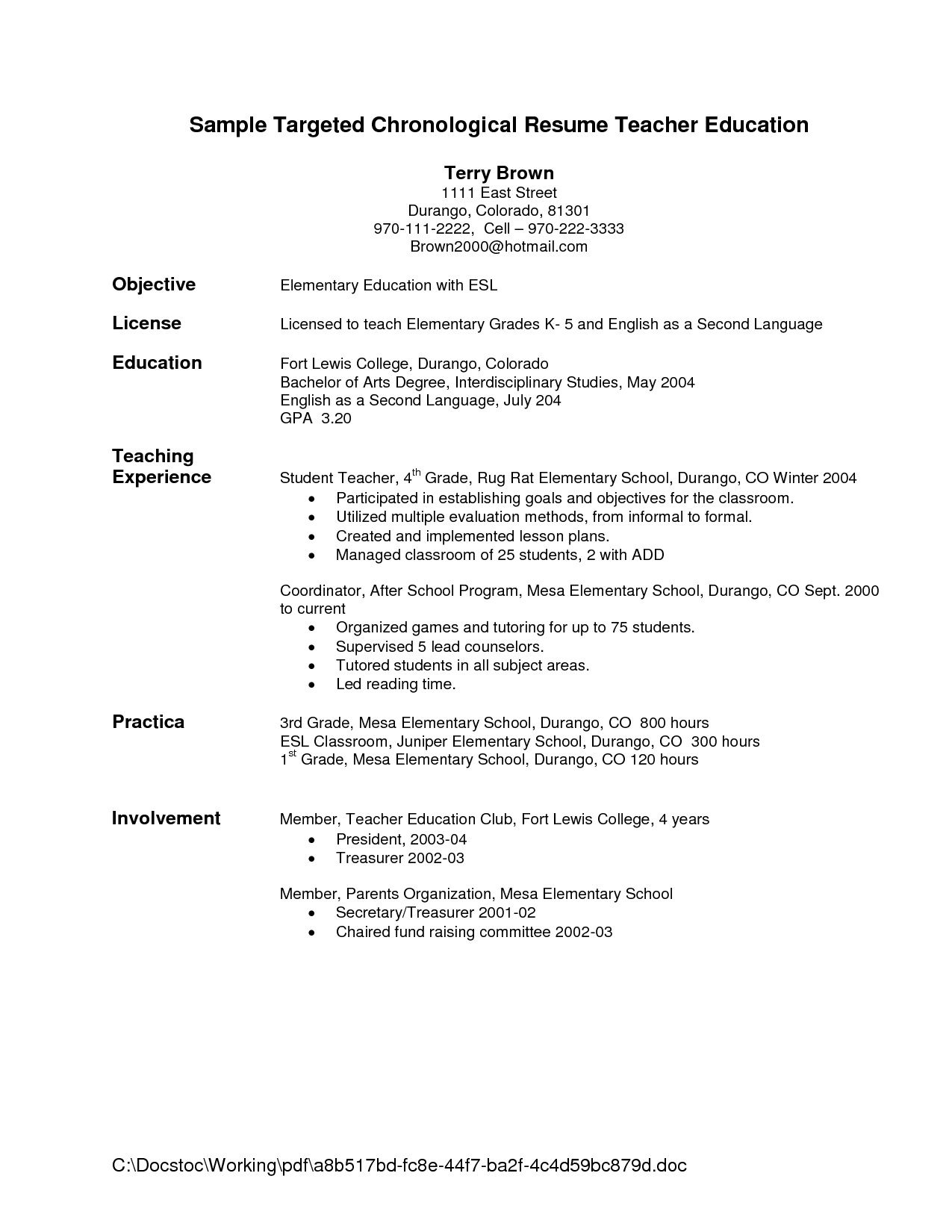 Teacher Resume Examples Resume Objective Statement For Teacher Http