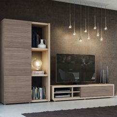 Sleek Tv Unit Design For Living Room Country Rooms 2016 Modern Natural Wall Storage System With And Tall ...