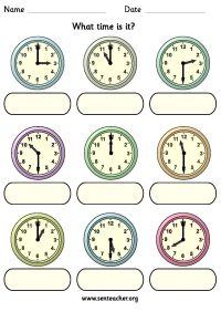 Worksheet containing 9 analogue clocks showing o'clock or ...