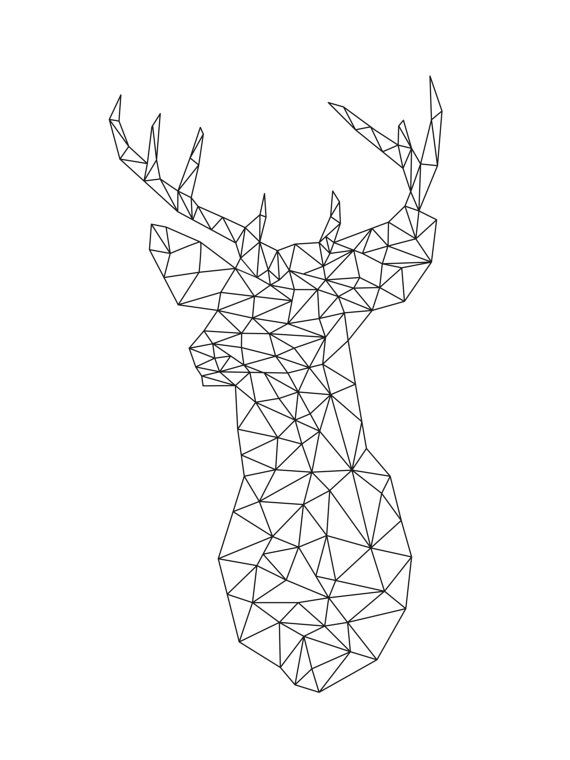 Origami Geometric Deer Winter Decor Origami door