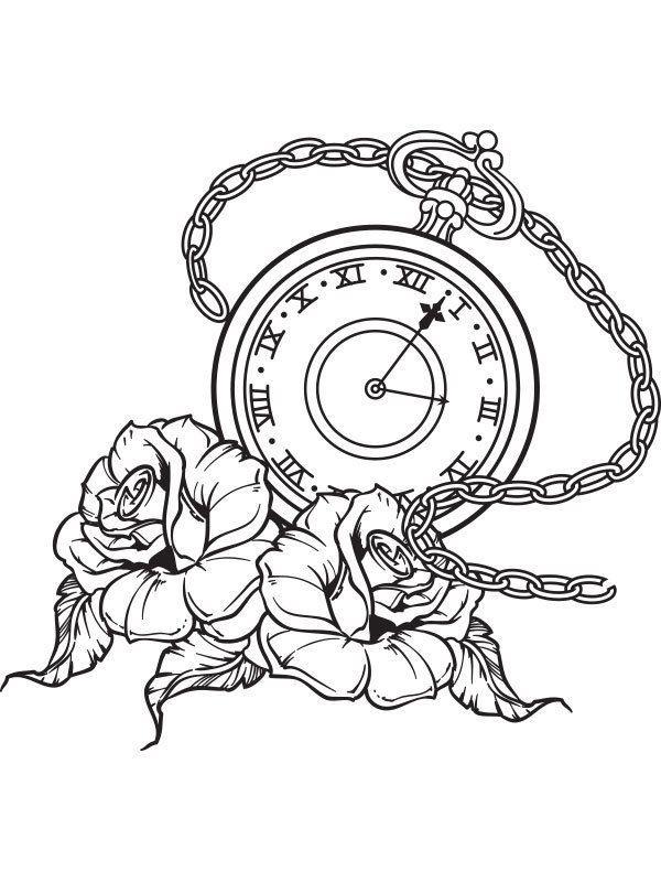 Pocket Watch Roses Tattoo Flash Wall Art Sticker Vinyl
